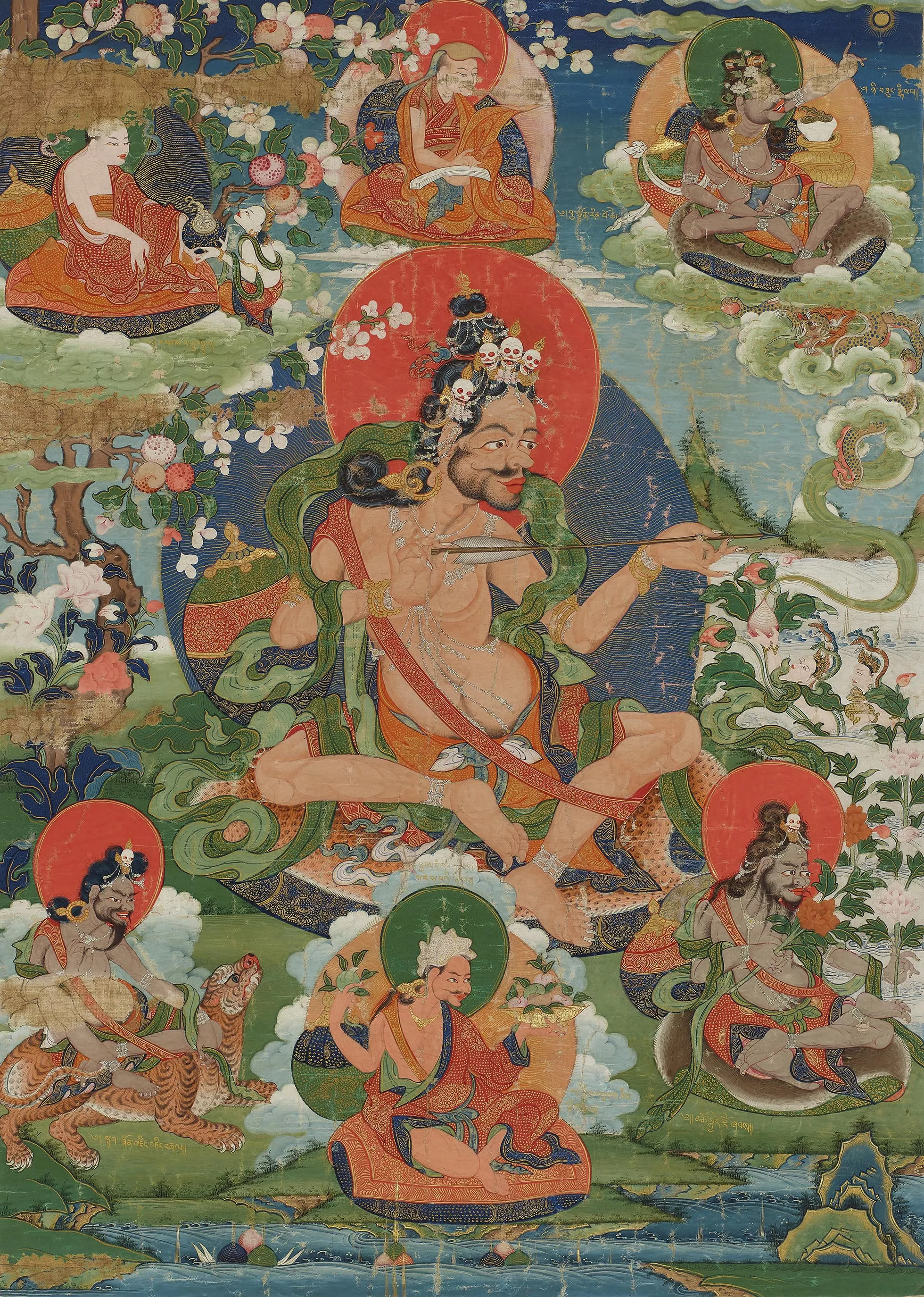Thangka (painting on textile) depicting Saraha and other Mahasiddhas, Tibet, 18th century.