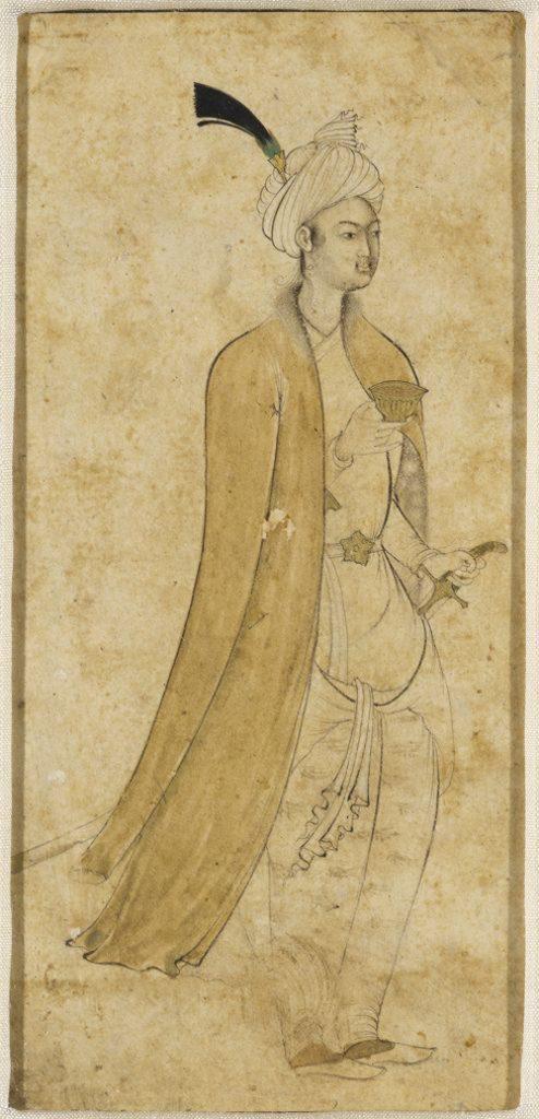 Aqa Riza Jahangiri, Gentleman with a Gold Wine Cup - The Culturium