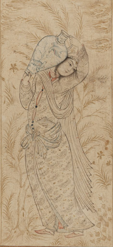 Muhammad Muhsin, A Woman Carrying a Large Jar - The Culturium