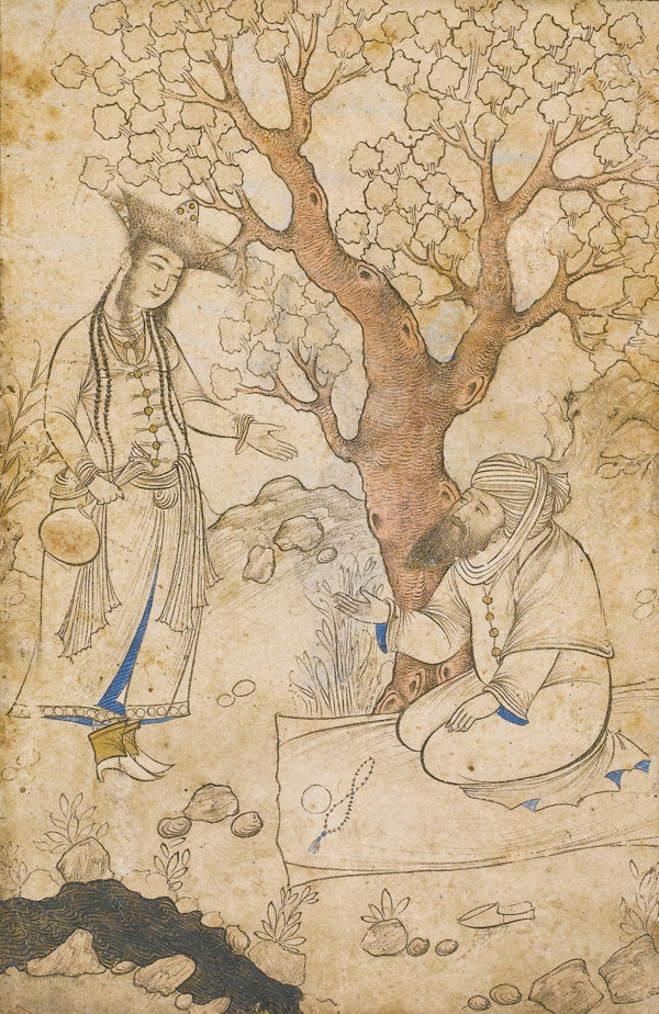 Muhammad Muhsin, A Maiden and Bearded Man by a Stream - The Culturium