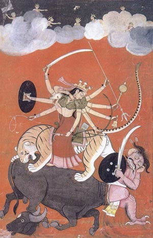 Goddess Durga fighting with Mahishasura